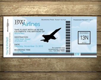 FIghter Jet- Boarding Pass Birthday Invitation - With or Without Photo