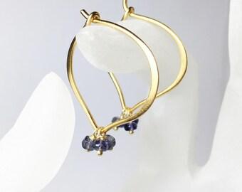 25% OFF Iolite Gemstone Hoops, Gold Lotus Earrings, Vermeil, Medium or Large