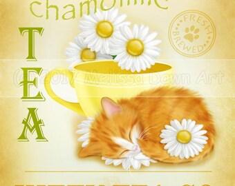 Cat and a Teacup // Orange Cat Art //  Chamomile Tea Kitty