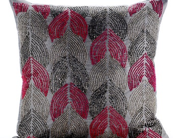 "Luxury Grey Decorative Cushion Covers, 16""x16"" Silk Pillowcase, Square Bead Embroidery Pillow Cover - Karizma"