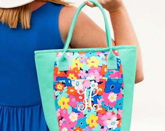 Poppy Insulated Cooler-Floral Lunch Bag-Personalized-Monogram-Cooler Bag-Cold Bag
