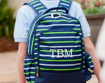 Shoreline Backpack-Navy Stripe Backpack-includes Monogram-School Bag-Diaper Bag