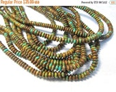 25% Off Sale Rare Zuni Turquoise Rondelle Beads,  Natural 6mm Turquoise Saucer Rondelle Beads,