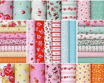 Cotton Fabric Fat quarter  bundle 20-pcs, Milk Sugar Flower by Elea Lutz - Vintage retro design by Penny Rose Riley Blake