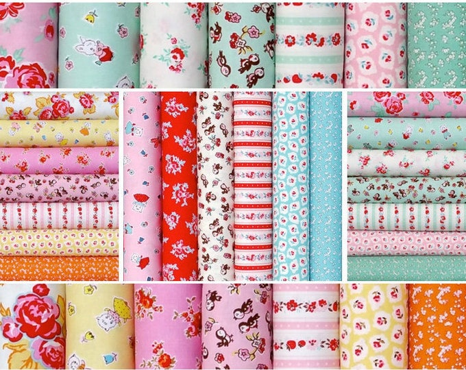 Cotton Fabric bundle 20-Fat quarters, Vintage retro - Milk Sugar Flower by Elea Lutz for Penny Rose Riley Blake