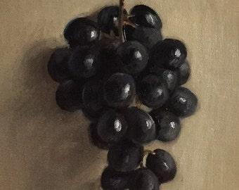 "Petite Original Oil Painting, Realism, Minimalist Still Life, Black Grapes,  5"" x 7"" on linen panel"
