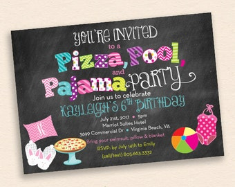 Pizza, Pool, Pajama Party Invitation - Chalkboard Style Birthday Party Invitation w/ Pillow, Pizza, Swimsuit, Beach Ball and Bunny Slippers