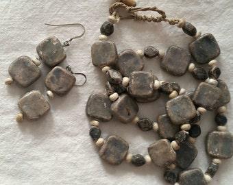 Grey Stone Necklace Earrings Set, rustic stone primitive style, drop pierced earrings, linen cord,  OOAK handmade