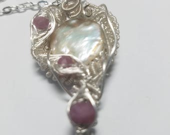 Wire Wrapped Woven Pendant  Rubies and Pearl in Sterling -free SP chain