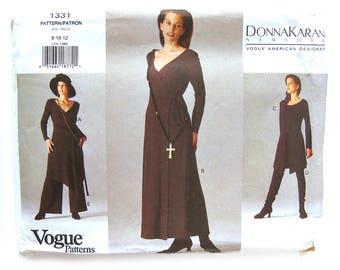 VOGUE American Designer Sewing Pattern 1331 - Donna Karan Wrap Dress Tunic Top Shorts Pants / Size 8-10-12 / UNCUT FF
