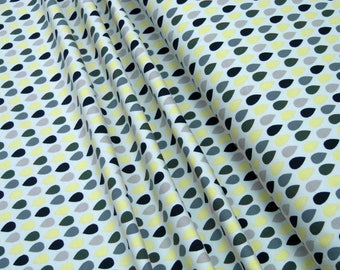 Jersey green yellow drops on light gray Cotton Jersey Knit Fabric 0.54yd (0,5m) 003319