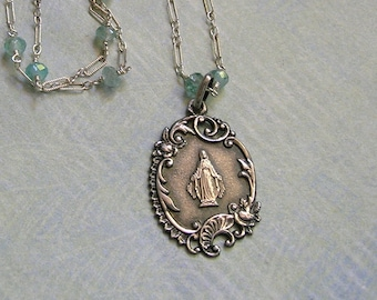 Antique French Religious Medal Wire Wrapped With Aquamarine Gemstones, Vintage French Medal With Mary Necklace (N281)