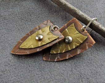 Handmade mixed metal copper, yellow brass and sterling silver earrings