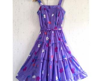 Vtg Tiered Full Skirt Purple Sundress Smocked