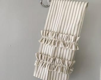Gray Ticking Stripe Hand Towel