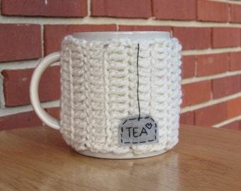 Crochet tea mug cozy tea cup cozy in ivory