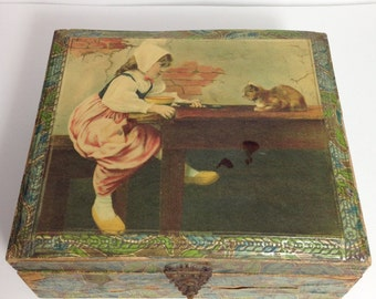 Vintage Box with Celluloid Lid, Little Girl with Cat, Making Friends
