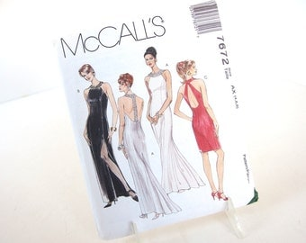 Uncut Vintage 1990's Formal Dress with Back Variations Sewing Pattern, McCalls 7672,  Bust 29.5 to 31.5 Inches