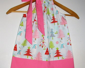 Dress Christmas dress PALE blue pink SIZE 18 months ready to ship  Riley Blake  fabric 18, months