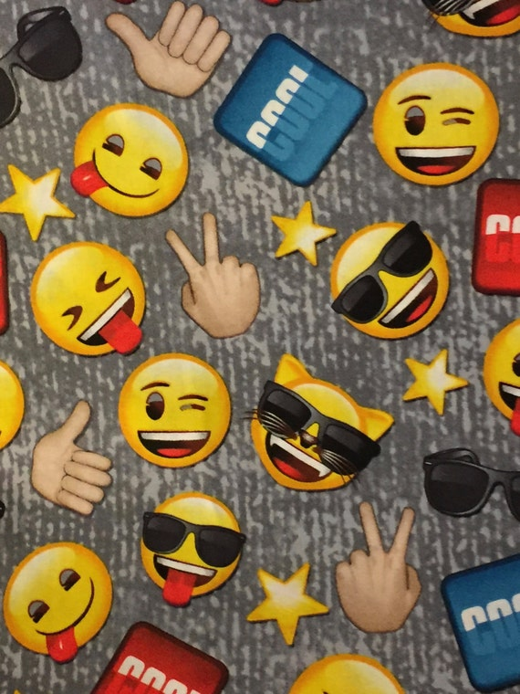 Large image cool guy emoji 100 cotton fabric by the yard for Emoji material by the yard