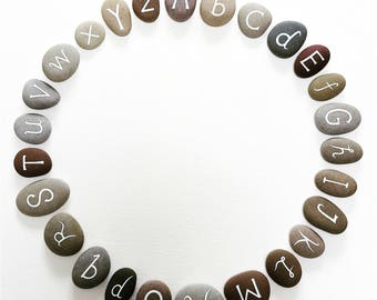 Alphabet - Painted Stones - 26 Pebbles with Hand Painted Letters - Art Collection - by Natasha Newton