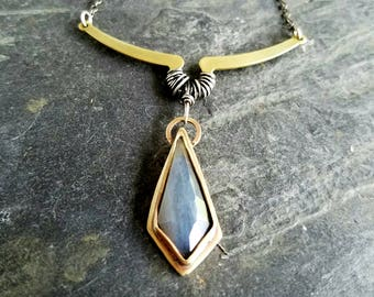 Labradorite Point Pendant, Bright Gold Brass, Bohemian Necklace, Tribal, Wire Wrapped Sterling Silver