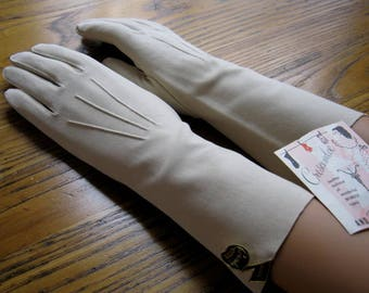 Vintage Ivory Dress Gloves, Crescendoe Leather Tailored, Size 7, Tags, Ivory Gloves, Dress Gloves, Long Gloves, Wedding Gloves, Retro Style