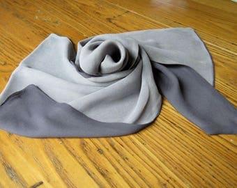 Vintage Gray Chiffon Scarf, Two Toned Gray, Chiffon Scarf, Gray Scarf, Head Scarf, 1950's Fashion, Hair Scarf, Tissue Scarf, Retro Fashion