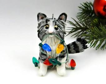 Maine Coon Cat Silver Tabby Christmas Ornament Figurine Lights Porcelain