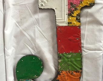 """Tin Ceiling Wrapped 16"""" Patchwork Reclaimed Metal Multi Color Letter """"J"""" Mosaic Wall Hanging 55-17i"""
