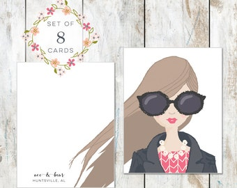 Set of 8 Portrait Stationery - Cotton Stationery - Brown Hair and Big Glasses Birthday Card - Excellent Bridal Gift