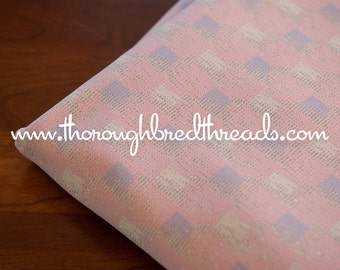 Pastel Metallic - New Old Stock Vintage Fabric 60s Geometric Pink Purple Silver