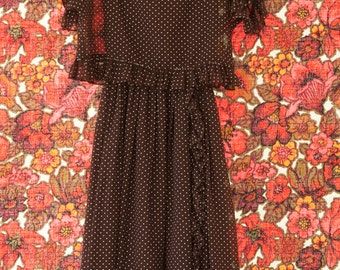 Vintage Dress - Brown Polka Dot Ruffle