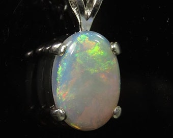 Natural Opal 2.39 carats Handset in .925 Sterling Silver Pendant WITH .925 Sterling Silver Chain  -  Fast Free Shipping with gift wrap