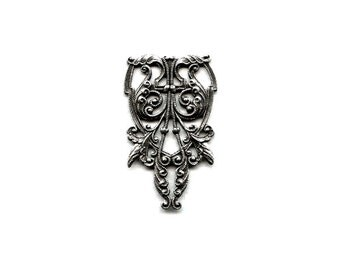 Winged Filigree Flourish Centerpiece / Bead Wrap in Antiqued Sterling Silver Plated Over Brass - Art Nouveau, Neo Victorian, Fantasy