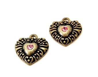 Antiqued Brass Puffy Heart Charms with Pink Rhinestone Accents - 2 Pieces - Neo Victorian, Boho, Bohemian