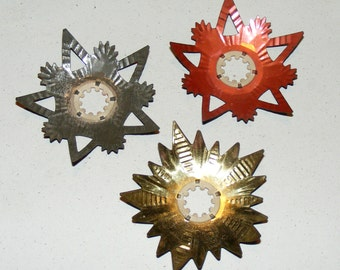 Antique Heavy Metal Tin Light Reflector Cristmas Decoration Lot of 3 Color Bulb cover