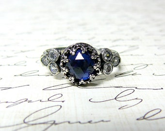 Trixie Ring - Beautiful Gothic Vintage Sterling Silver Floral Band Ring with Rose cut Blue Sapphire, Heart Bezel and CZ