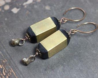 Brass Wood Bead Earrings Black Brown Big Bead Hoops