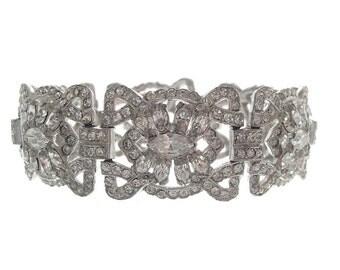 Antique Art Deco Bracelet, Wide Marquis Rhinestone Deco Link, 1920s Fine Vintage Art Deco Wedding Jewelry