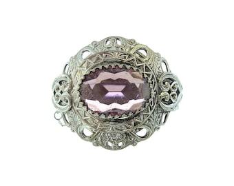 Antique Amethyst Bangle, 1930s Fine Vintage Statement Cuff, Alternative Vintage Wedding Bracelets, Antique Jewellery