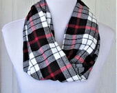 Red White Black Plaid Scarf, Flannel Infinity Scarf, Winter Scarf, Necklace Scarf, Women's Scarves, Eclectasie
