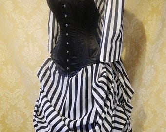 CUSTOM SALE Sleepy Hollow Full Outfit-Bustle Jacket, Bustle Trained Skirt and Steel Boned Belladonna Corset