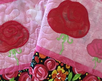 Quilted Spring Table Runner . . . Appliqué WHIMSY FLOWERS . . . Embroidered SUN . . . Bold Colors