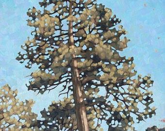 "Framed Oil Painting Landscape, Original Art on SALE, Contemporary Ponderosa Pine Tree Landscape, ""Ponderosa"""