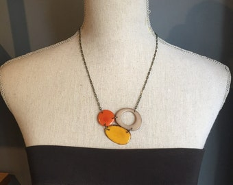 Orange yellow gray cluster necklace