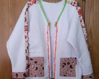 Cottage Jacket, Cottage wear, Casual, Handmade, Large, butterflies
