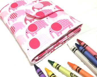 Pink | Elephant | Washable | Crayon | Organizer | Case | Tote | book | Toy | Activity book | Party Favors | Travel wallet | Kids | gift