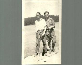 1928 Antique Photo Friendly Handsome Young Men Walk Along River Vintage Snapshot Photograph