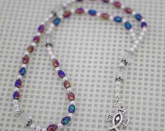 Czech Crystal & Rainbow Hemalyke Rosary - Anglican or Catholic - Made to Order